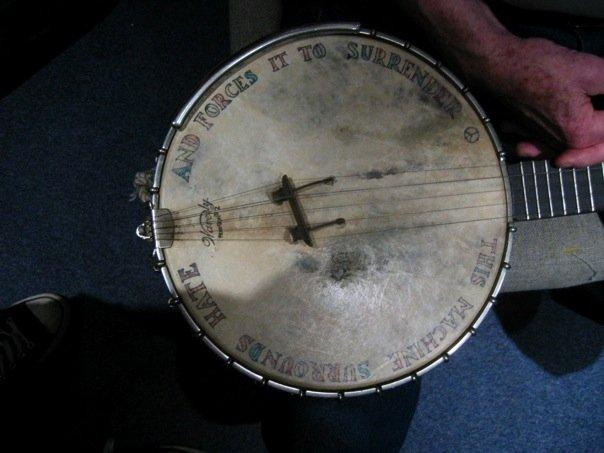 Pete Seeger's banjo (pic. by Simon Dye)